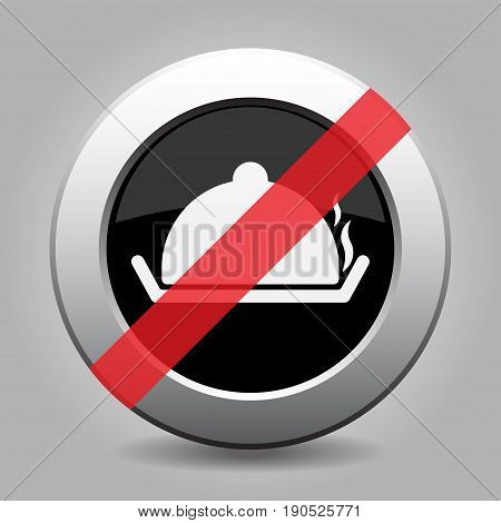 Black and gray metallic button with shadow. White serving tray with lid and smoke banned icon.