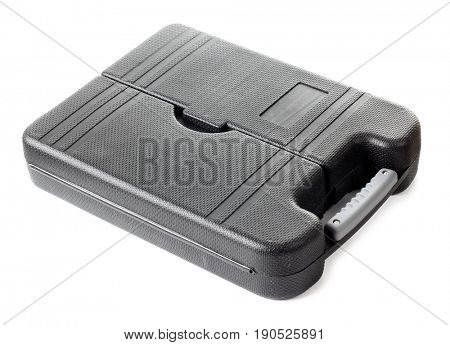 Suitcase with work tools on whit background