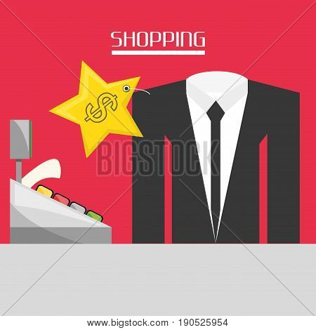 cash register with suit shopping concept vector illustration