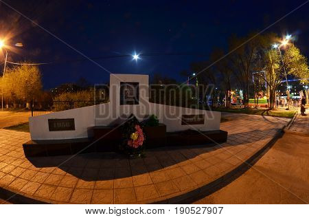 Memorial of General-lieutenant Stepan Dorokhov.Founder of Soviet  anti-ballistic missile testing range Sary Shagan at night time.Central square.May 9, 2017.Priozersk.Kazakhstan