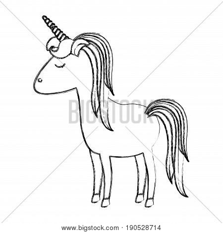 monochrome blurred silhouette of cartoon unicorn standing with closed eyes and striped mane vector illustration