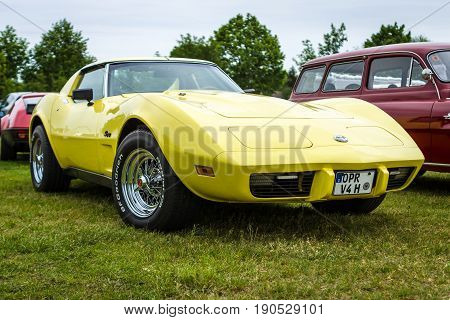 PAAREN IM GLIEN GERMANY - JUNE 03 2017: Sports car Chevrolet Corvette Stingray Coupe 1976. Exhibition