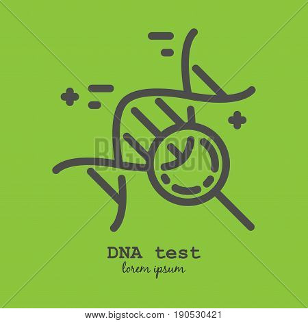 Vector line style logo or label template. DNA test Isolated on background and easy to use concept. Perfect design logotype for your business.