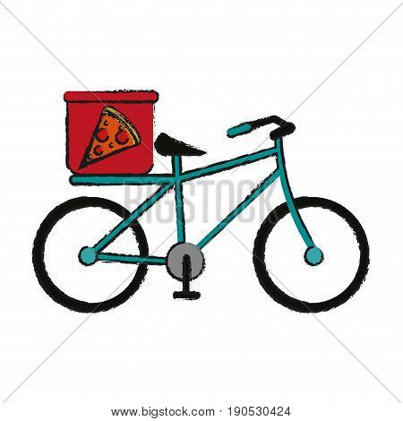 pizza bycicle draw illustration icon vector design graphic