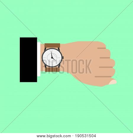 Wristwatch on bussines man icon. Vector illustration.