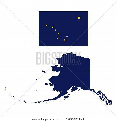 Alaska Flag and state map on a white background