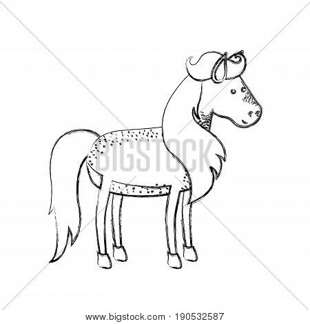 monochrome blurred silhouette of horse with freckles and mane and tail vector illustration