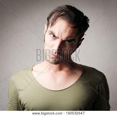 Irritated man's portrait