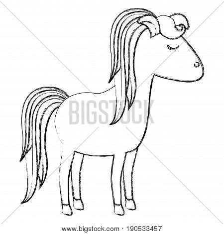 monochrome blurred silhouette of cartoon female horse with striped mane and tail vector illustration