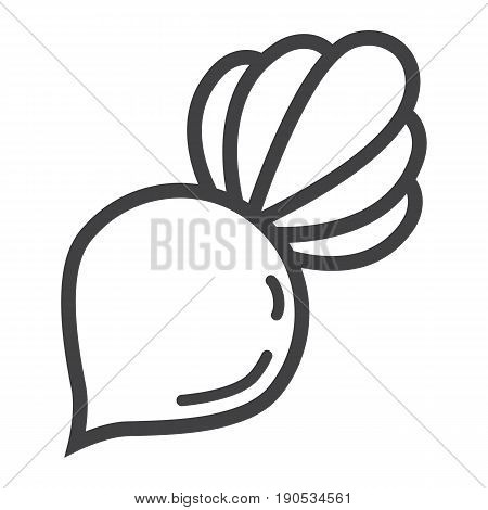 Beet line icon, vegetable and diet, vector graphics, a linear pattern on a white background, eps 10.