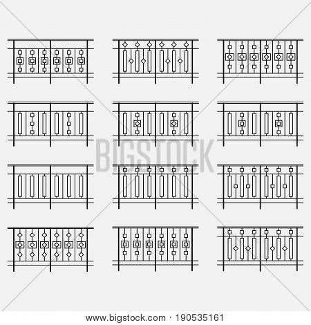 set of decorative fences, forged railing, wrought iron, vector image