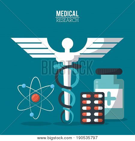 color poster medical research with caduceus symbol and pills and atom icon vector illustration