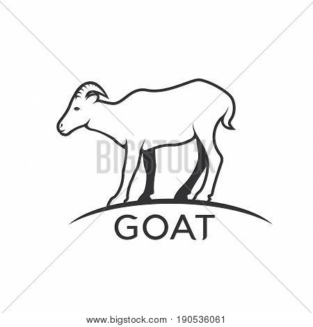 Vector of a goats mountain on white background. Wild Animals.