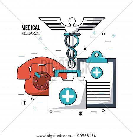 color poster medical research with caduceus symbol and medical clipboard and phone and first aid kit vector illustration