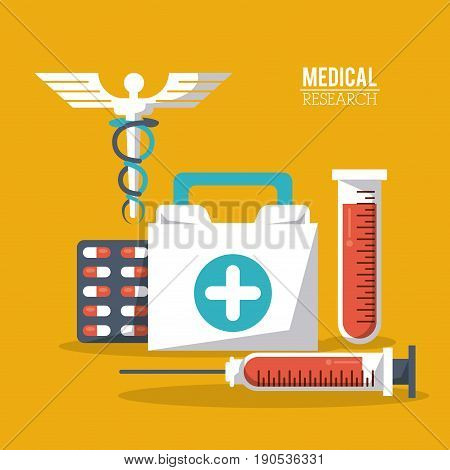 color poster medical research with caduceus symbol and test tube and syringe pills and first aid kit vector illustration