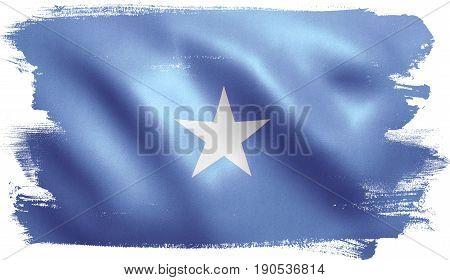 Somalia flag with fabric texture. 3D illustration.
