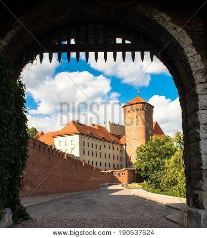 Summer Wawel castle on Wawel Hill in Krakow, Poland
