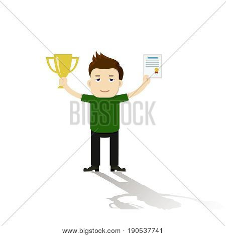 Vector illustration of businessman proudly standing and holding up trophy, showing award and certificate. Flat style
