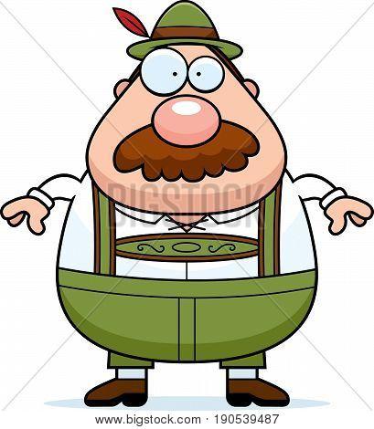 Cartoon Lederhosen Man Mustache