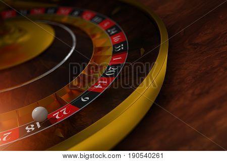 Elegant Roulette Wheel Closeup 3D Rendered Illustration. Roulette on the Dark Wooden Table.