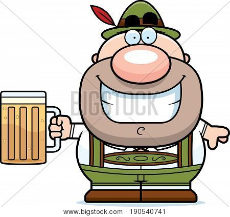 Cartoon Lederhosen Man Beer