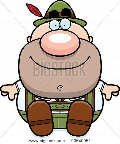Cartoon Lederhosen Man Sit