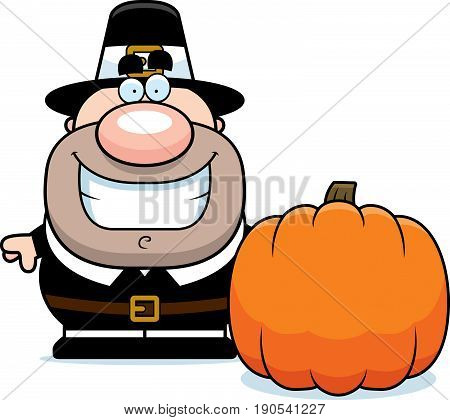 Cartoon Pilgrim Pumpkin