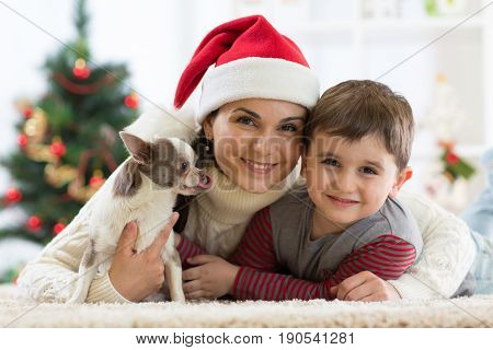 Portrait of a happy mother and her little son with dog spending together Christmas time at home near the x-mas tree