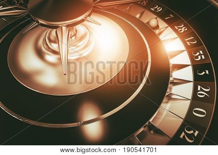 Roulette Wheel Casino Game. 3D Rendered Illustration of Roulette in Sepia Golden Colors.