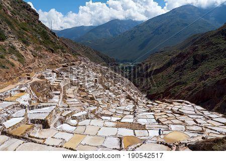 Salina de Maras in Cusco region Peru