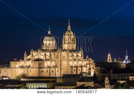 Night view of Salamanca Cathedral fully iluminated. The Old city of Salamanca is declared by UNESCO a World Heritage Site.