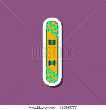 paper sticker on stylish background snowboard design