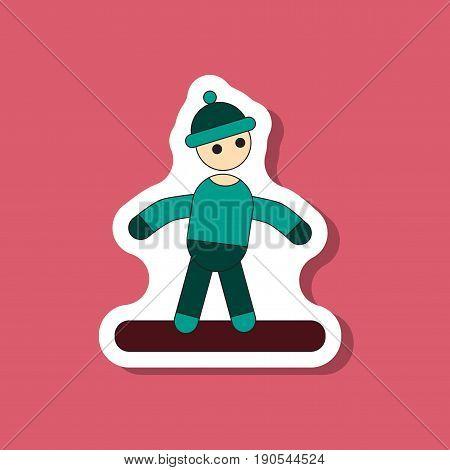 paper sticker on stylish background snowboarder design