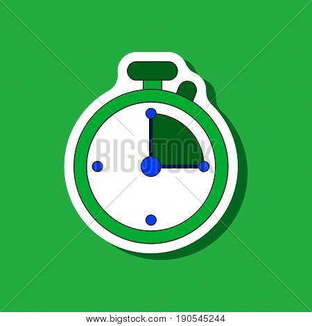 paper sticker on stylish background stopwatch design