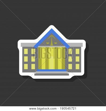 paper sticker on stylish background courthouse design