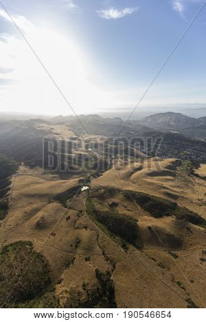 Aerial view of Rancho Sierra Vista portion of the Santa Monica Mountains National Recreation Area in Ventura County, California.