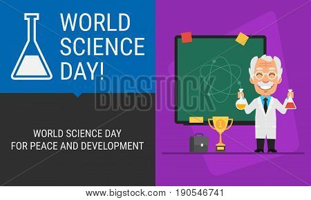 Concept World Science Day Professor And Blackboard
