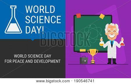 Concept World Science Day Professor And Blackboard