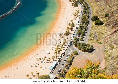 Amazing view of beach las Teresitas with yellow sand. Location: Santa Cruz de Tenerife, Tenerife, Canary Islands.