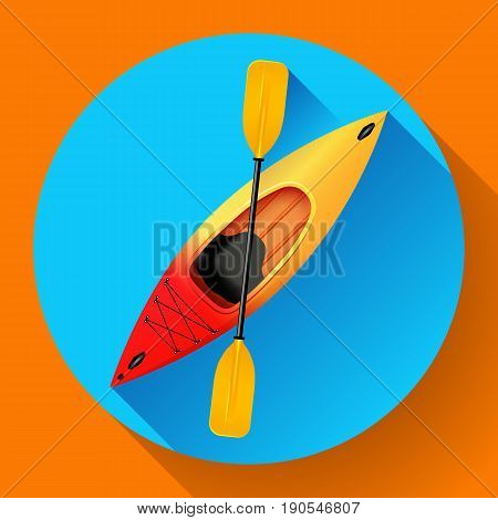 Kayak and paddle icon vector. Outdoor activities. Yellow red kayak, sea kayak flat icon.