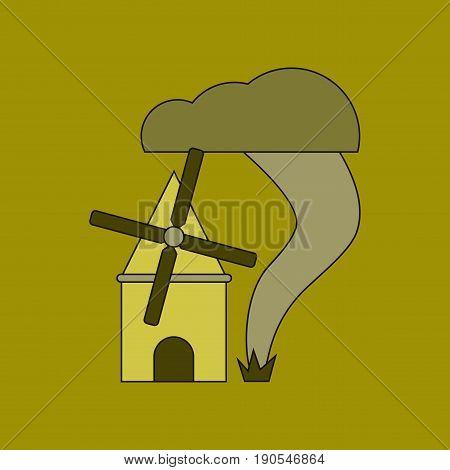 flat icon on stylish background tornado mill