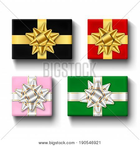 Gift Boxes Top View Isolated Set Vector Template