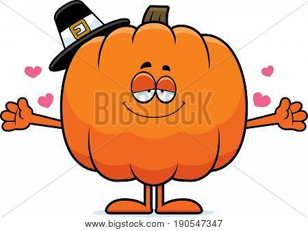 Cartoon Pumpkin Pilgrim Hug