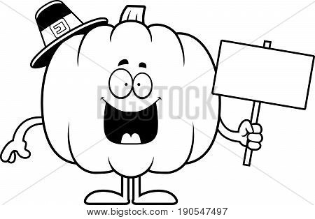 Cartoon Pumpkin Pilgrim Sign