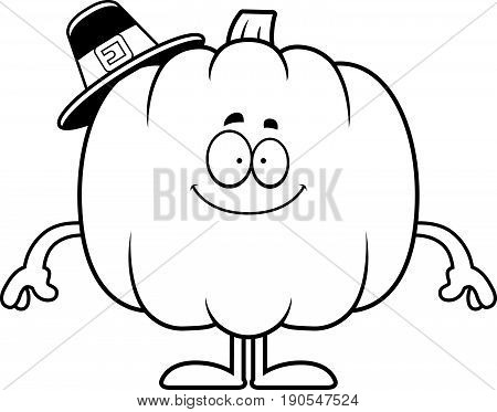 Happy Cartoon Pumpkin Pilgrim