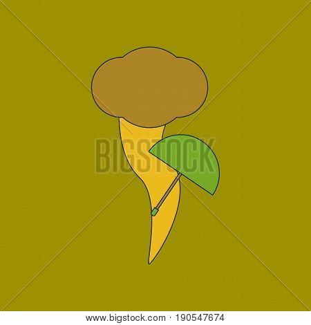 flat icon on stylish background tornado umbrella