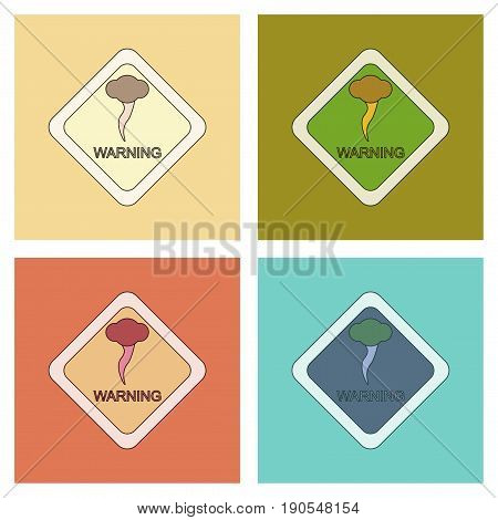 assembly of flat icons natural hurricane tornado