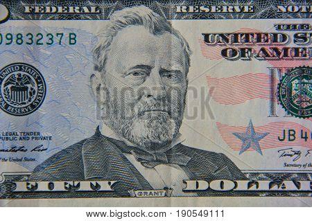 Macro shot of the fifty dollars bill