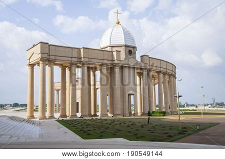 YAMOUSSOUKRO, IVORY COAST. July 3, 2013. The Catholic Basilica of Our Lady of Peace (Basilique Notre-Dame de la Paix). Consecrated in 1990 by Pope John Paul II, it is the largest church in the world