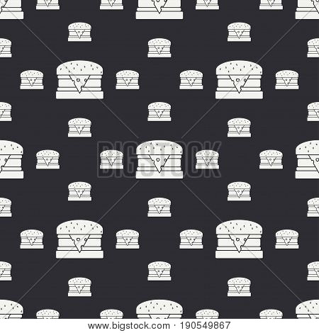 Abstract seamless background pattern in hipster style with fastfood element - burger. Vector illustration texture for design, wallpaper.